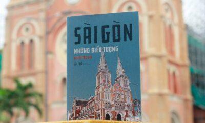 Sách Sài Gòn: Những biểu tượng, trên nền công trình lên bìa sách, Nhà thờ Đức Bà. Ảnh: Phanbook.