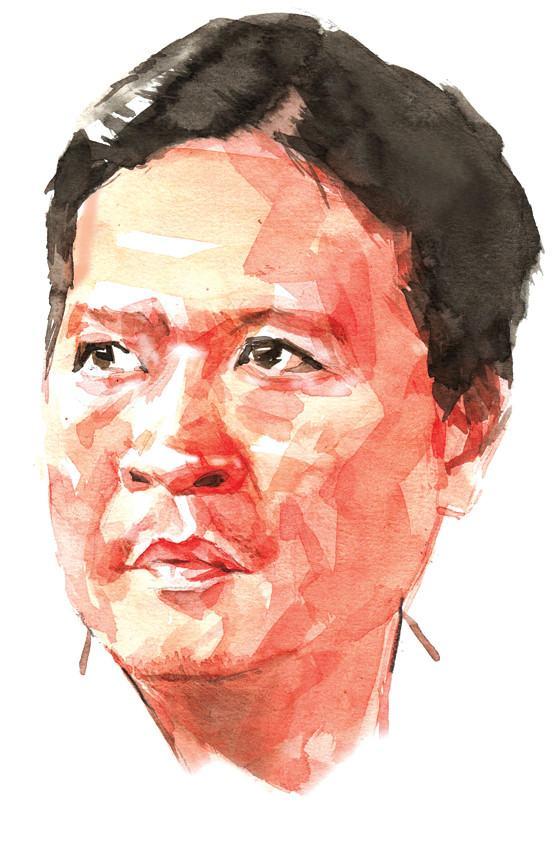 Tranh minh họa nhà văn Hồ Anh Thái của họa sĩ Đỗ Hoàng Tường.
