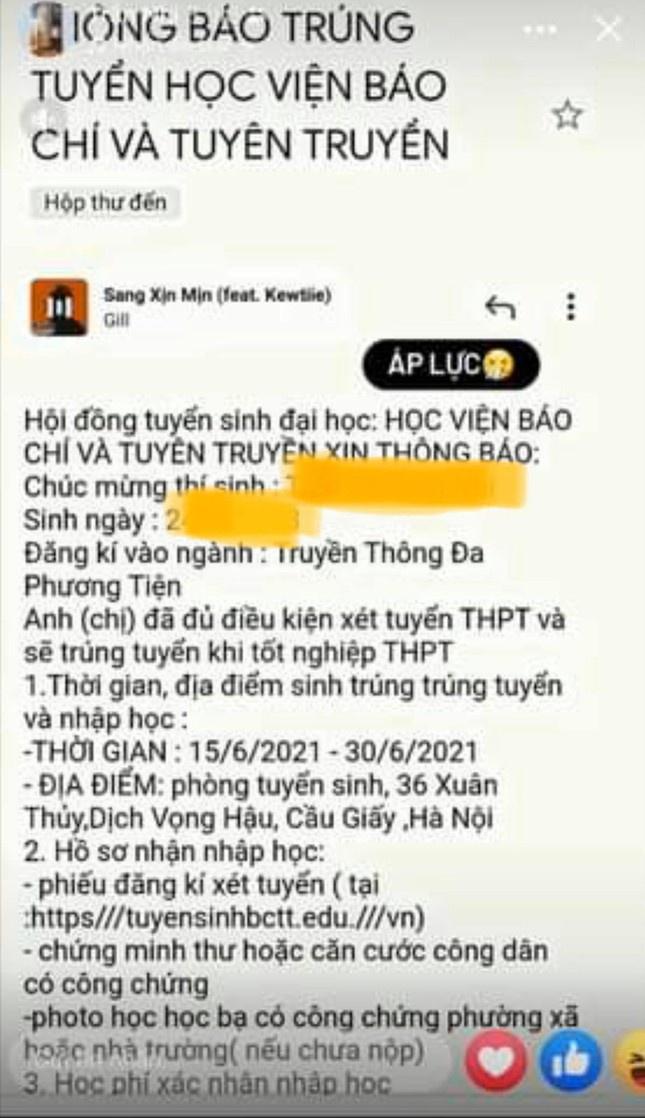 email gia thong bao trung tuyen HV Bao chi va Tuyen truyen anh 1