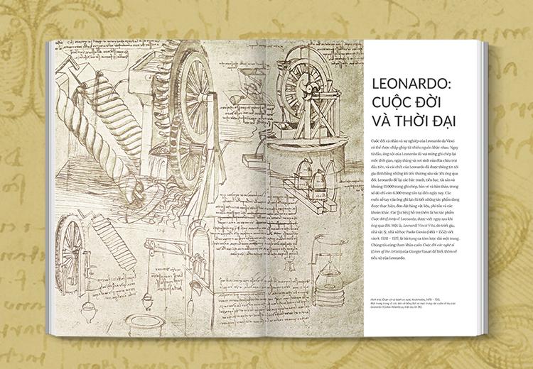 Ngoài hội họa, sách còn giới thiệu các phát kiến khoa học của Leonardo Davinci